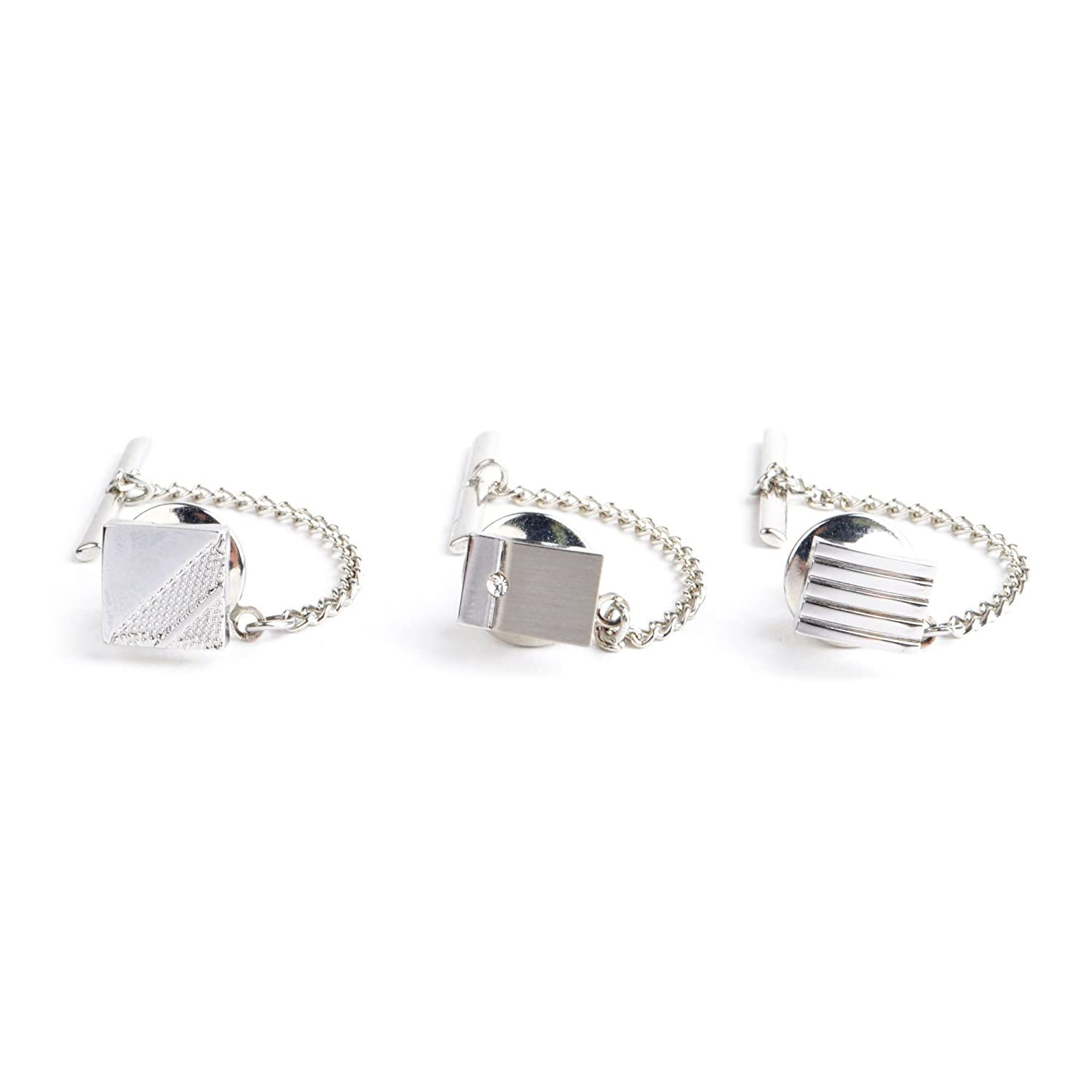 Silver Tone 3 Pieces Tie Tack Set for Men Boxed-Gifts TT1749-3pk
