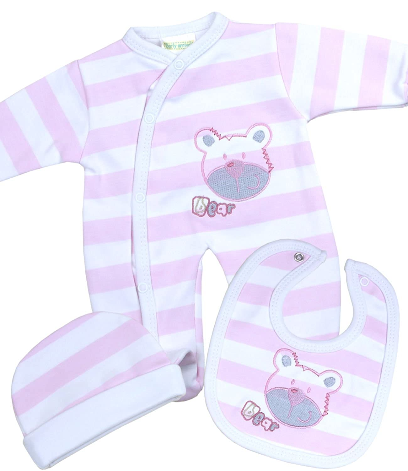 Babyprem Baby Set Sleepsuit Bib Hat Clothes Teddy Premature 1.5lb - 3 Months BEE020