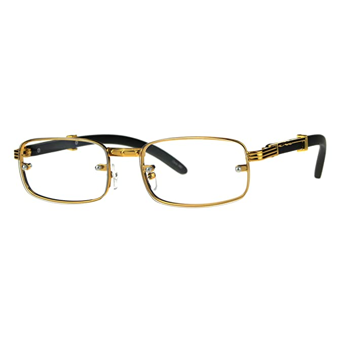 9c3b3dbdb418 SA106 Art Nouveau Vintage Style Oval Metal Frame Eye Glasses Exposed Lens  Yellow Gold