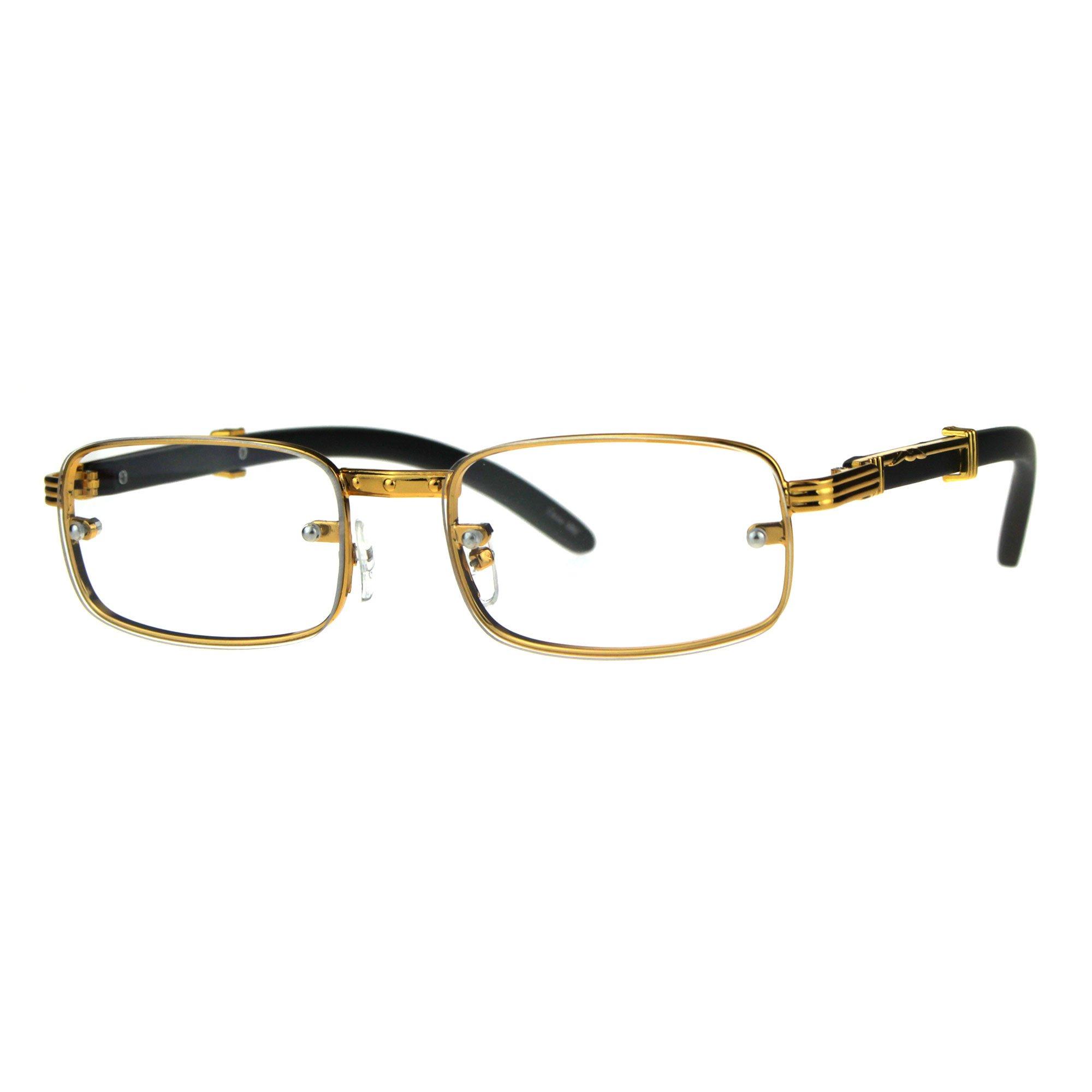 SA106 Art Nouveau Vintage Style Oval Metal Frame Eye Glasses Exposed Lens Yellow Gold