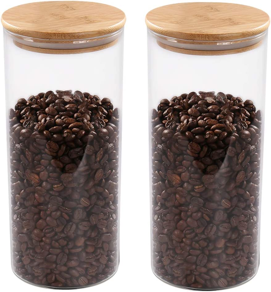 77L Food Storage Jar, (Set of 2) Thickened Glass Food Storage Jar with Airtight Seal Bamboo Lid, 52.36 FL OZ (1550 ML) Clear Coffee Bean Container for Serving Coffee, Tea, Spice and More
