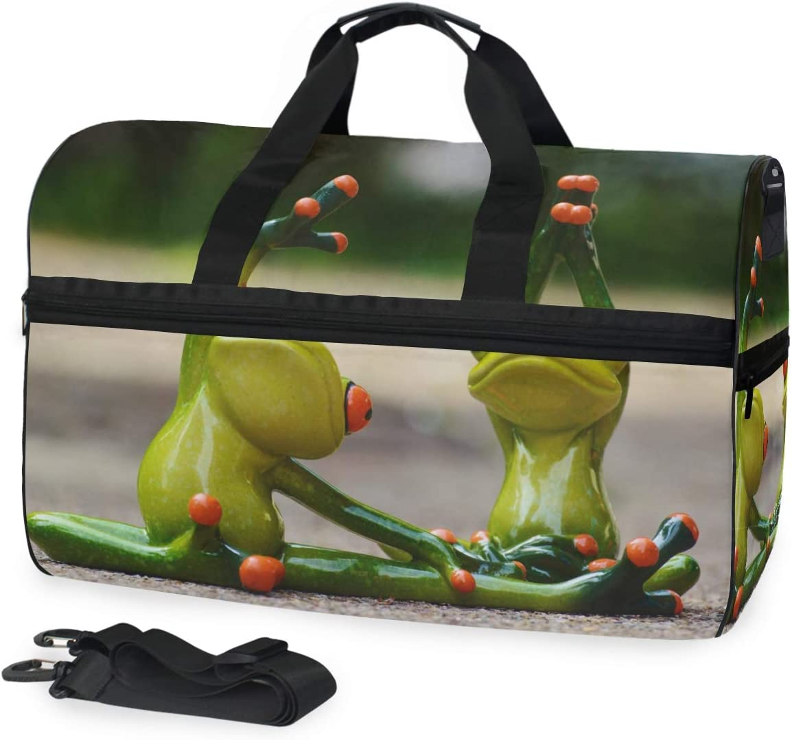 MONTOJ Awesome Two Frog Yoga Oversized Canvas Travel Tote Duffel Shoulder Overnight Weekend Bag