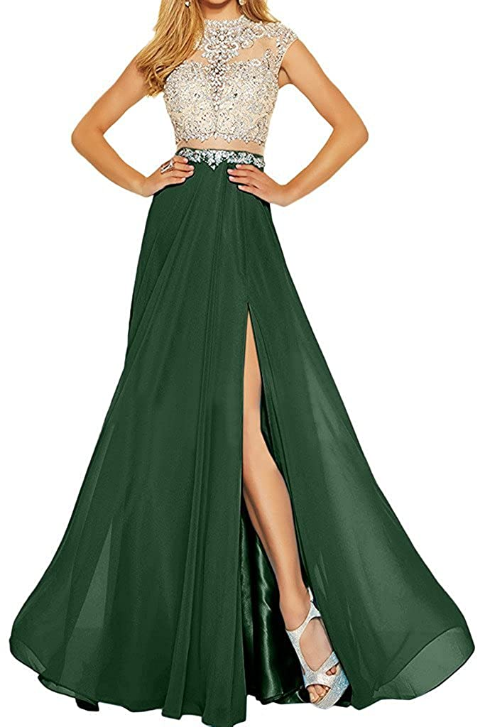 Emermald MariRobe Women's Beading Evening Dress Split Illusion Prom Gown Sleveless Backless Dance Dress for Girls Pink