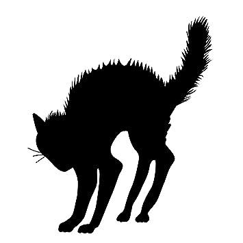 Amazon.com: Halloween Black Cat Silhouette - Black - Vinyl Wall ...