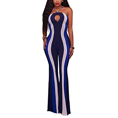 9fa395c6e38 BU-Bauty Women Strapless Hollow Out Backless Stretch Bocyon Striped Long  Jumpsuit Rompers  Amazon.co.uk  Clothing