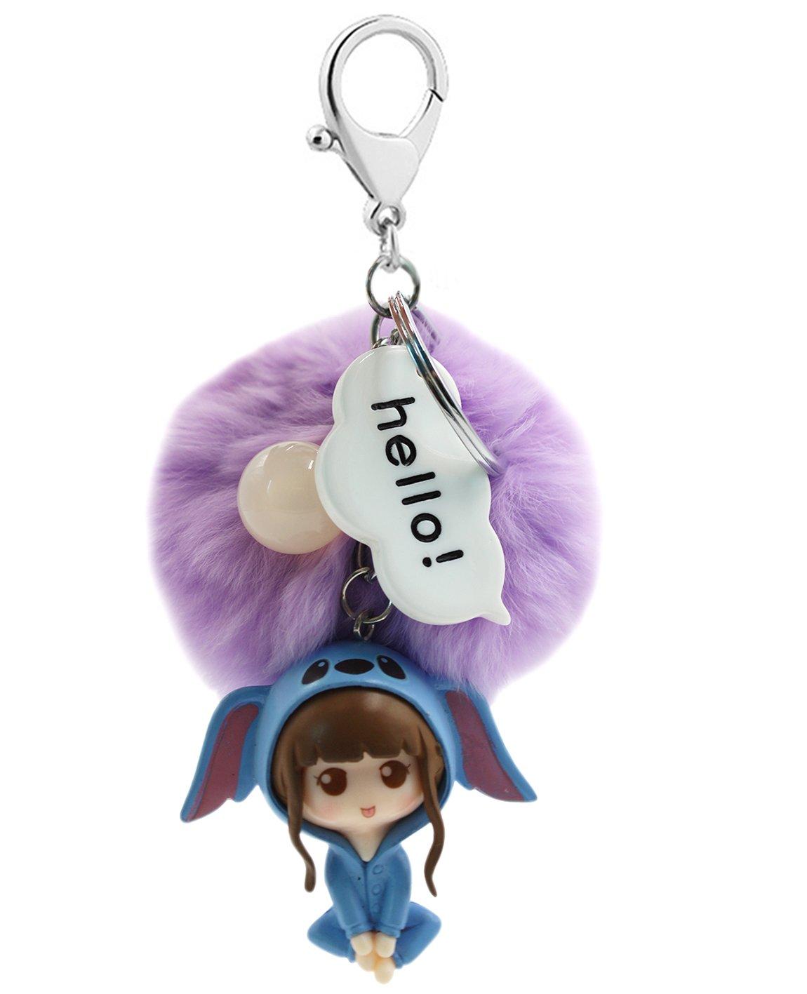 Cute Cartoon Girl Model Key Chain Soft Big Fluffy Ball Key Ring Bag Pendant (Light Purple)