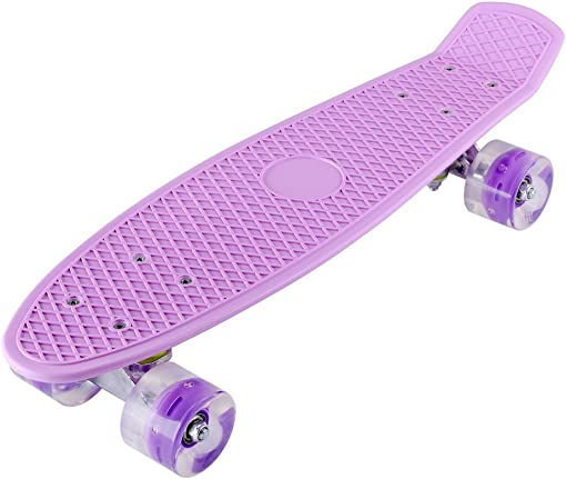 Homgrace 22 Skateboard Complete Classic Retro Luminous Cruiser Plastic Skate Board with LED Light Up Wheels