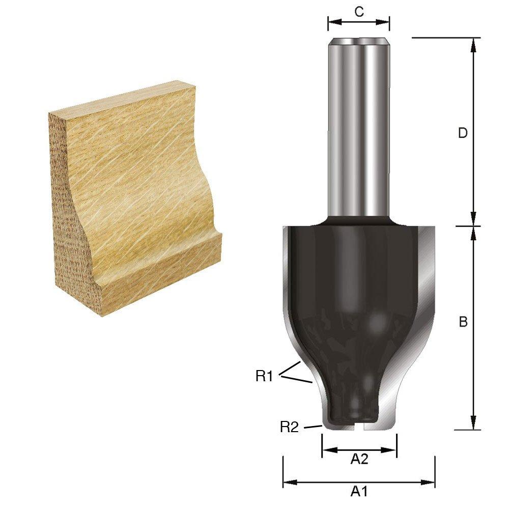 Schaft A C D 40 mm 31,8 mm HM B 41,3 mm 8 mm Durchmesser ENT 17301 Abplattfr/äser vertikal geschwungen Typ A HW
