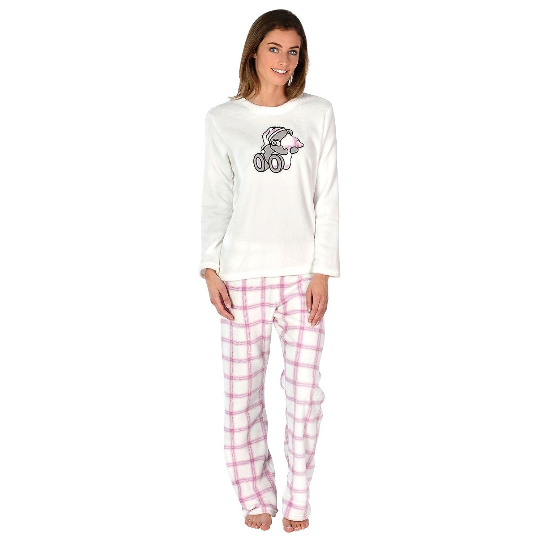 57a8e9433ad5 Ladies Cosy Soft Fleece Pyjama Gift Set PJS Long Top   Bottoms Womens  Nightwear  Amazon.co.uk  Clothing