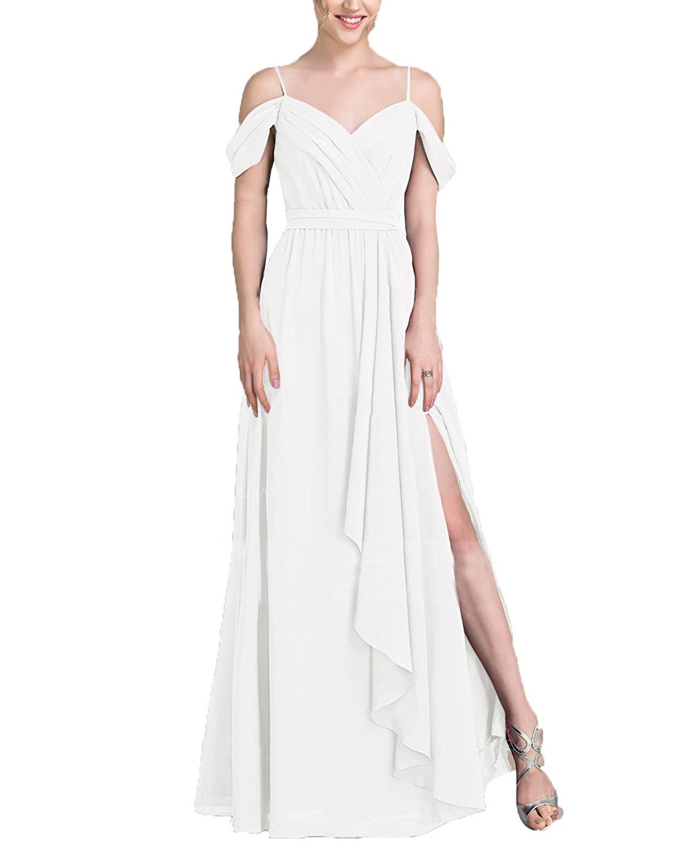d85ecdd0189b Lafee Bridal Chiffon Off Shoulder Bridesmaid Dresses High Slit Long Evening  Gown Ivory Size 10