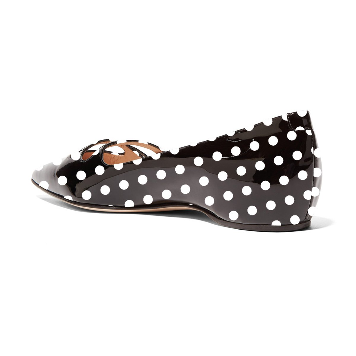 YDN Women Pointed Toe Slip on Pumps Flats Hidden Low Heels Pumps on Comfort Shoes with Straps B07DKYNH69 9.5 M US|Black Polka Dot b5358e