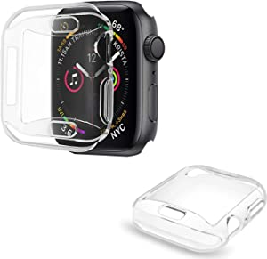 [2 Pack] ALADRS Screen Protector Case for Apple Watch 40mm, Full Protective HD Ultra-Thin Cover Compatible with iWatch Series 4 Series 5 Series 6 SE Bumper Case, Clear+Clear