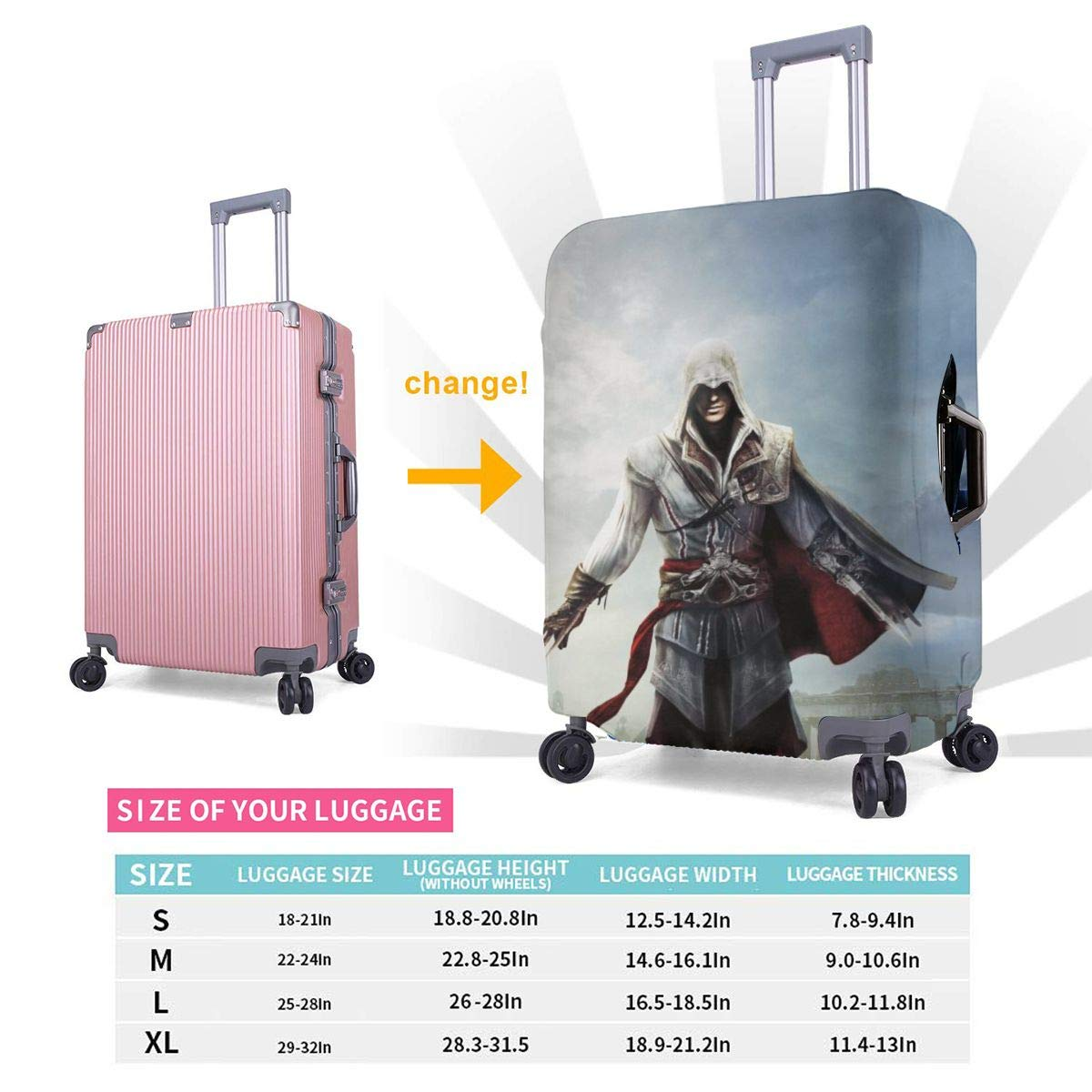 Assassins Creed Suitcase Protector Travel Luggage Cover Fit