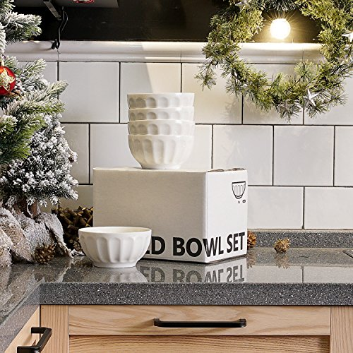 Sweese 1108 Porcelain Fluted Bowl Set - 26 OZ Deep and Microwavable for Cereal, Soup - Set of 6, White by Sweese (Image #2)