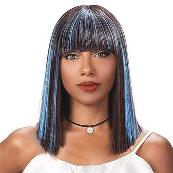 TTHJY Pelucas Sintéticas Recto Corte Bob Pelo Sintético Sintético Azul Peluca Mujer Corta Navidad Halloween Cosplay
