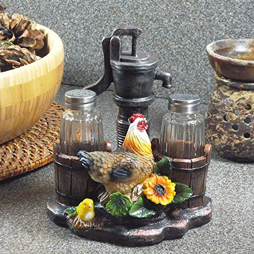 Old Fashioned Water Pump And Rooster Salt and Pepper Shaker Set