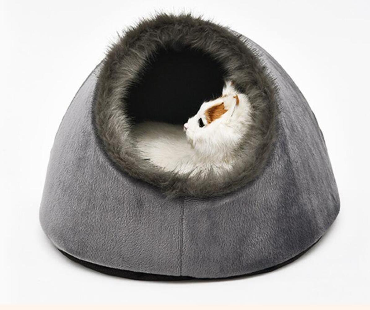 WWQY Grey Pet Cave Nest Bed Cushion for Cats And Dogs Soft Warm Basket House Bag Mat Puppy Pad
