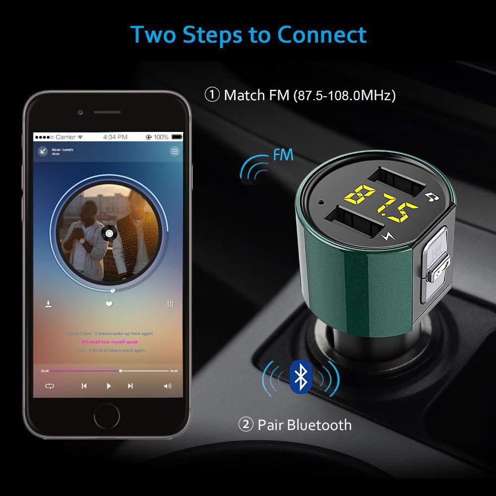 Audio Ricevitore Adattatori U Flash Drive per Tutti Gli Smartphone Lettore MP3 5V//2.4A Trasmettitore Bluetooth per Auto Caricabatteria Auto con 2 Porte USB Bovon Trasmettitore FM Bluetooth Auto