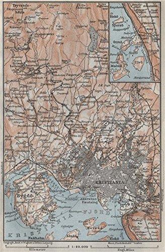 Amazoncom OSLO ENVIRONS Christiania Bygdo Norway Kart - Norway map amazon