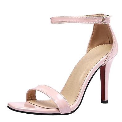 Agodor Damen Spitze High Heels Sandalen mit Schnalle und Stiletto Ankle Strap Pumps Elegante Lack Schuhe