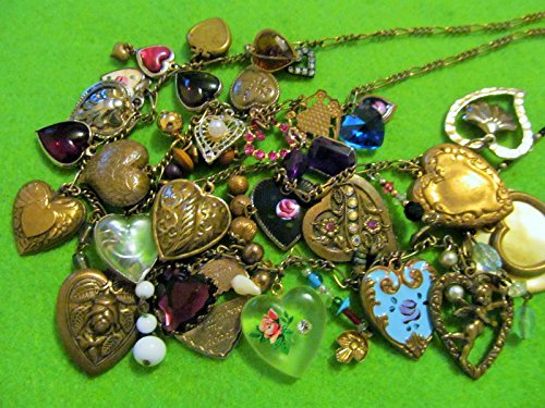 ROMANTIC 28 Victorian & Vintage Hearts, including Cherub Locket Gems, 12 Brass Dangles, Repousse, Painted, Glass, on 29 Inch Chain.One of a Kind!