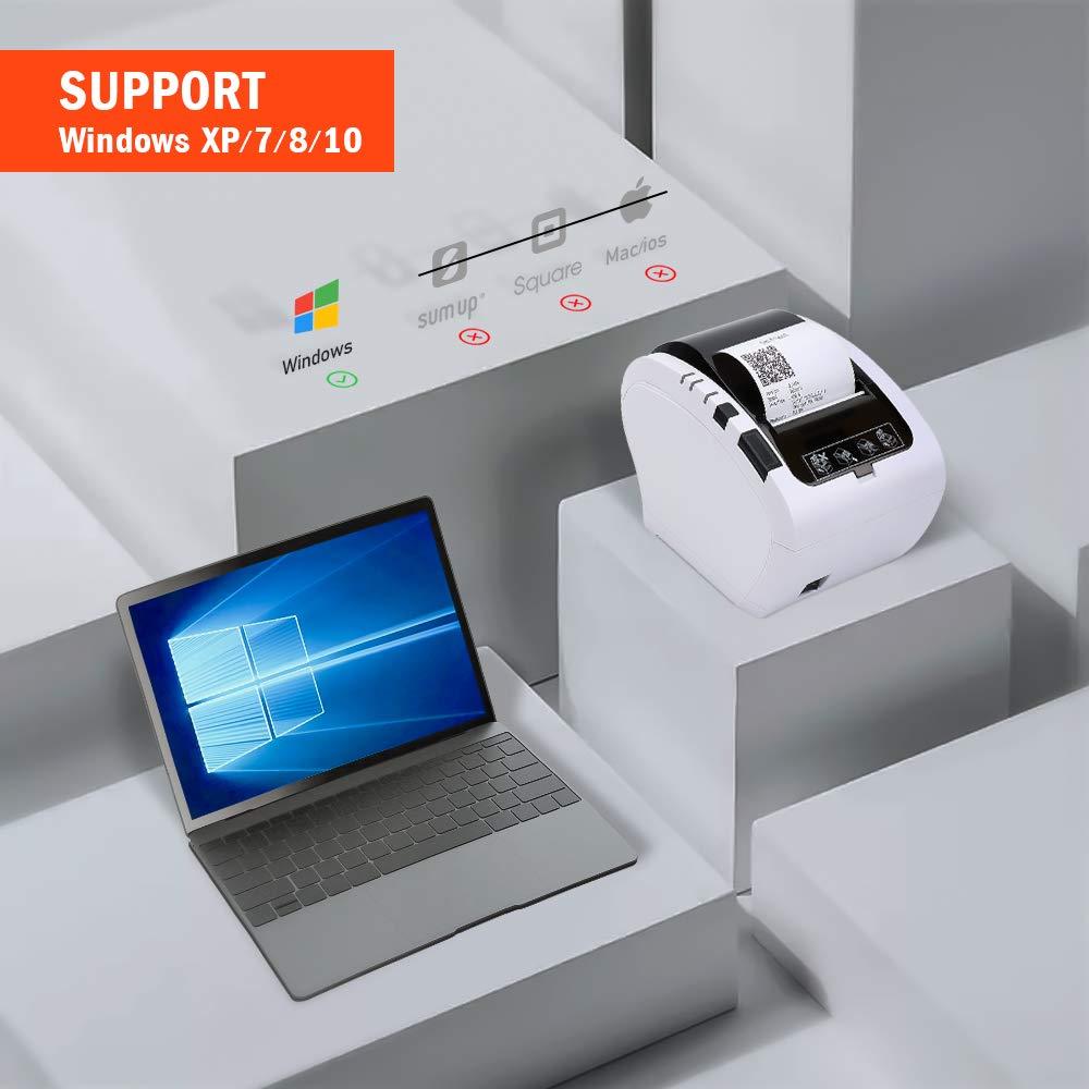 MUNBYN Impresora de Ticket Térmica USB, Ticketera de 80mm de Recibos, Impresora Etiqueta de Velocidad 300mm/s ESC/POS Compatible con ...