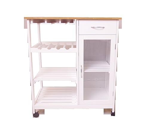 BECO Küchenwagen Servierwagen Teewagen Bambus Arbeitsplatte Küche Möbel