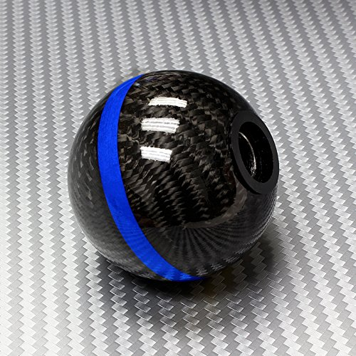 Universal Real Carbon Fiber Ball Manual Gear Shift Shifter Knob W/Blue Stripe