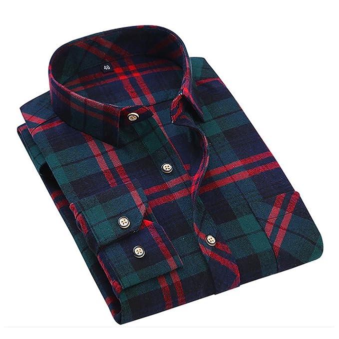 Meedot tartán Camisas Hombres Comprobar Blusa Largo Manga Franela Camisa Tops Casual Hemd Pullover Verde Rojo