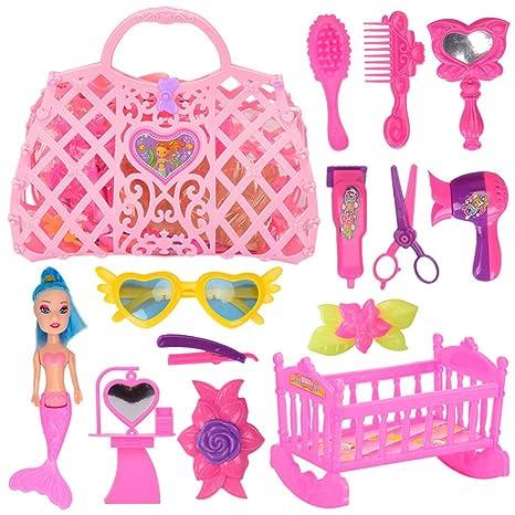 Juego de juguetes pretendidos para niñas, 14 piezas, kit de sirena para vestir,