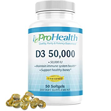 ProHealth Vitamin D3 50,000 (50,000 IU, 50 softgels) Helps Boost and  Support Healthy Bones and The