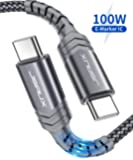USB C to USB C Fast Charging Cable 100W 10ft, JSAUX 5A USB Type C Cable Compatible with MacBook Pro 2019 2018, iPad Pro 2019 2018, Samsung Galaxy S20 S20+ S20 Ultra Note 10 Plus A80, Pixel 3/3a/2-Grey