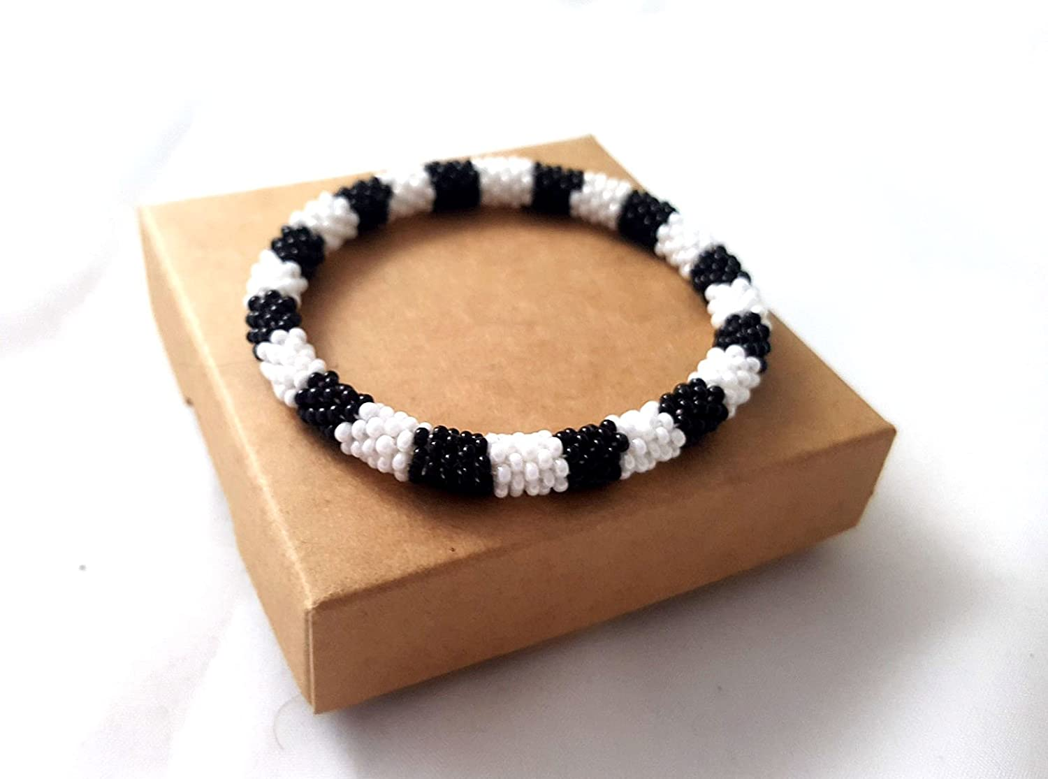 White Black Roll On Bracelet Nepal Native Bangle Beaded Wristband