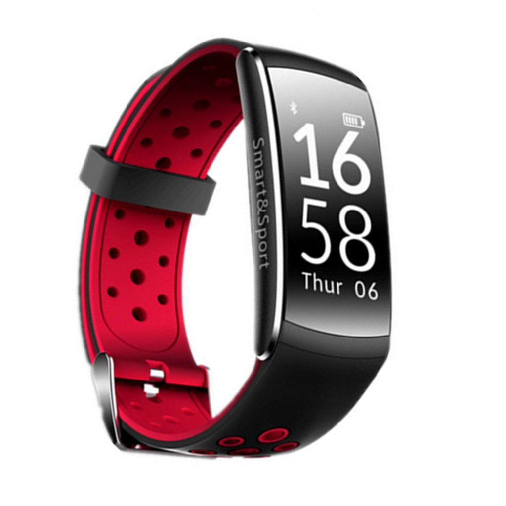 HDWY Smart Bracelet Step Counter Calorie Sleep Monitor Distance Sport Watch Walking Running App For Woman And Man (Color : Red)