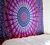 raajsee Purple Color Theme Mandala Wall Tapestries,Peacock Tapestry, Psychedelic Indian Tapestry Bedding, Bohemian Wall Hanging, Floral Print Queen Bed Cover,Hippy Tapestry 220 (140220cms)