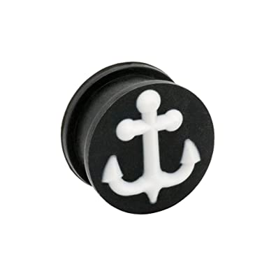 Blue Banana Body Piercing Dilatación Silicona Anchor Plug (Negro/Blanco) - 6-20mm (Calibre/Grosor)