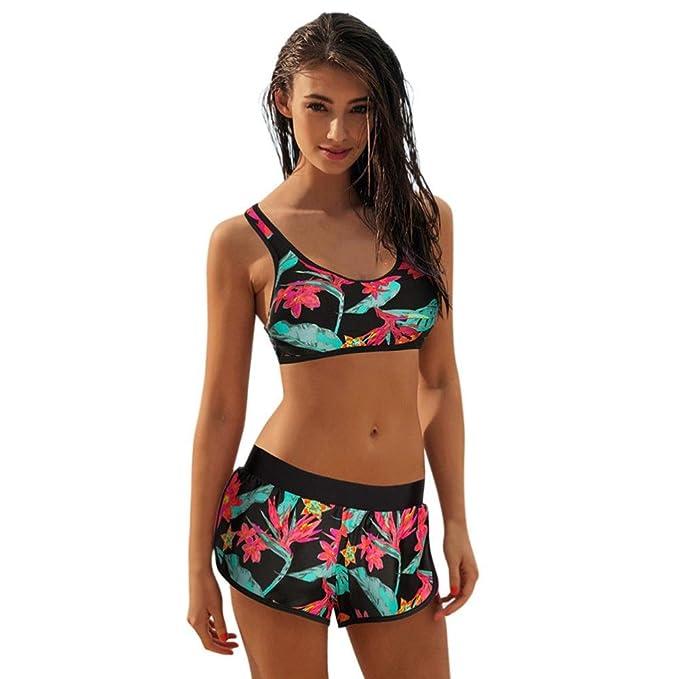 5e75c8bcb533 Traje De Baño De Mujer,RETUROM Set de Bikini de Dos Piezas para Deporte con  Parte Superior con Escote bajo y Parte Inferior de Corte Alto y diseño ...