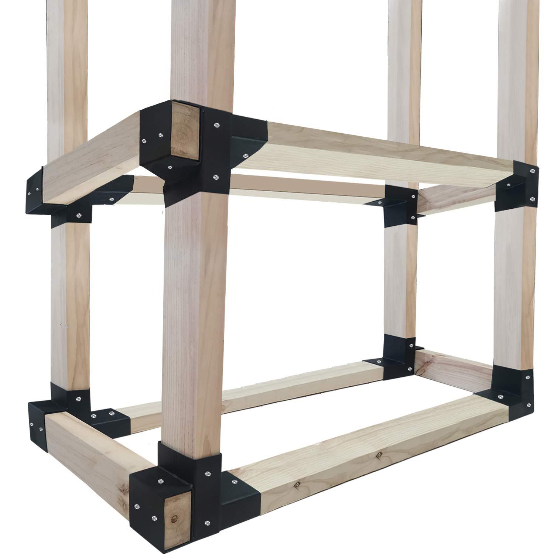 Urban Deco 8 Pack Outdoor Firewood Log Rack Bracket Kit, Firewood Storage Holder Adjustable Length (012Rack-8PK Black) by Urban Deco