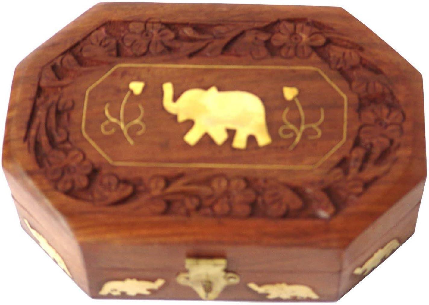 Whopper sculpt/é /à la main /él/éphant en relief en bois coffre au tr/ésor bo/îte de rangement bo/îtes /à bijoux parfaites pour les femmes cadeau parfait pour vos proches