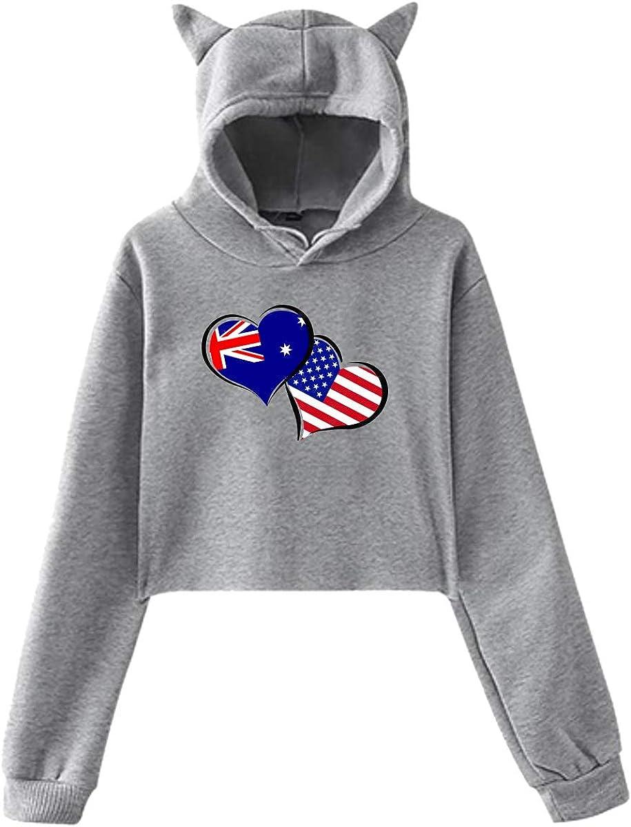 Girls Cute Cat Ear Hoodie Sweatshirts Australian American Flag Hearts Love Dew-Navel Hoody Sweater