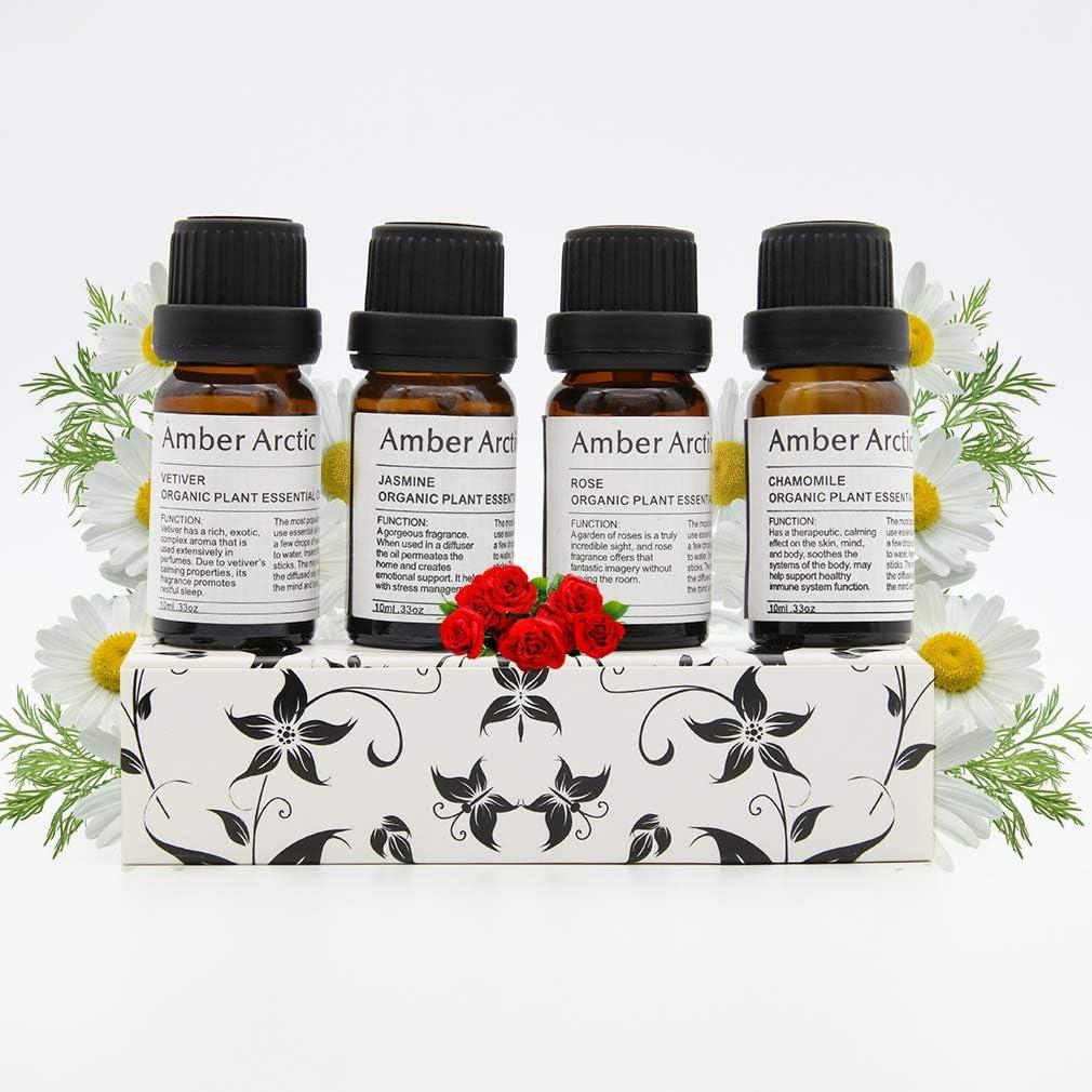 Jazmín Vetiver Rosa Manzanilla Aceite Esencial Para Difusor, 100% Puro Aceite Vegetal Orgánico Fresco 10mlx4