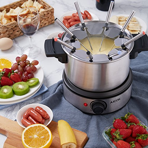 Aicok Stainless Steel Fondue Pot 1500W Fast Heating Up, Nonstick Interior for Easy Cleanup, 8 Colored Forks by Aicok (Image #3)