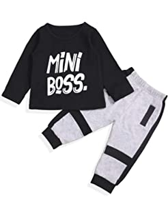 8905b09a7 Toddler Infant Baby Boy Long Sleeve Mini Boss Printing Sweatshirt Top and Pants  Outfit Set