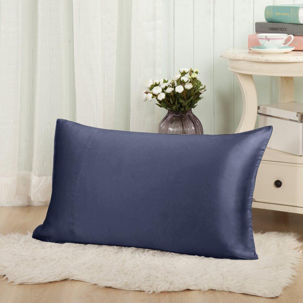 luxus 100 seide kissenbezug 40x80 19 momme kissenh lle mit rei verschluss blau ebay. Black Bedroom Furniture Sets. Home Design Ideas