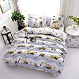 BeddingWish Cartoon Duvet Cover Sets for Boys with Hidden Zipper Closure Ultra Soft Cozy Hypoallergenic Microfiber Excavator Construction Tools Printed Grey Twin Size (3pcs)