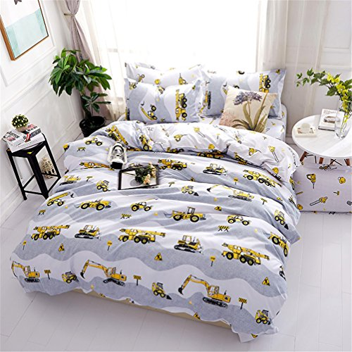 Cartoon Bedding Sets for Teenager With Hidden Zipper Closure Ultra Soft Cozy Hypoallergenic Microfiber Excavator Construction Tools Printed Grey Bed Sheet Standard Size (4pcs)