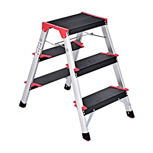 Giantex Aluminum 3 Step Ladder Folding Non-Slip Lightweight 330lbs Capacity Platform Stool Folding Stepladder Step Stool with Dual Side Non-Slip and Wide Pedal for Household Work Use