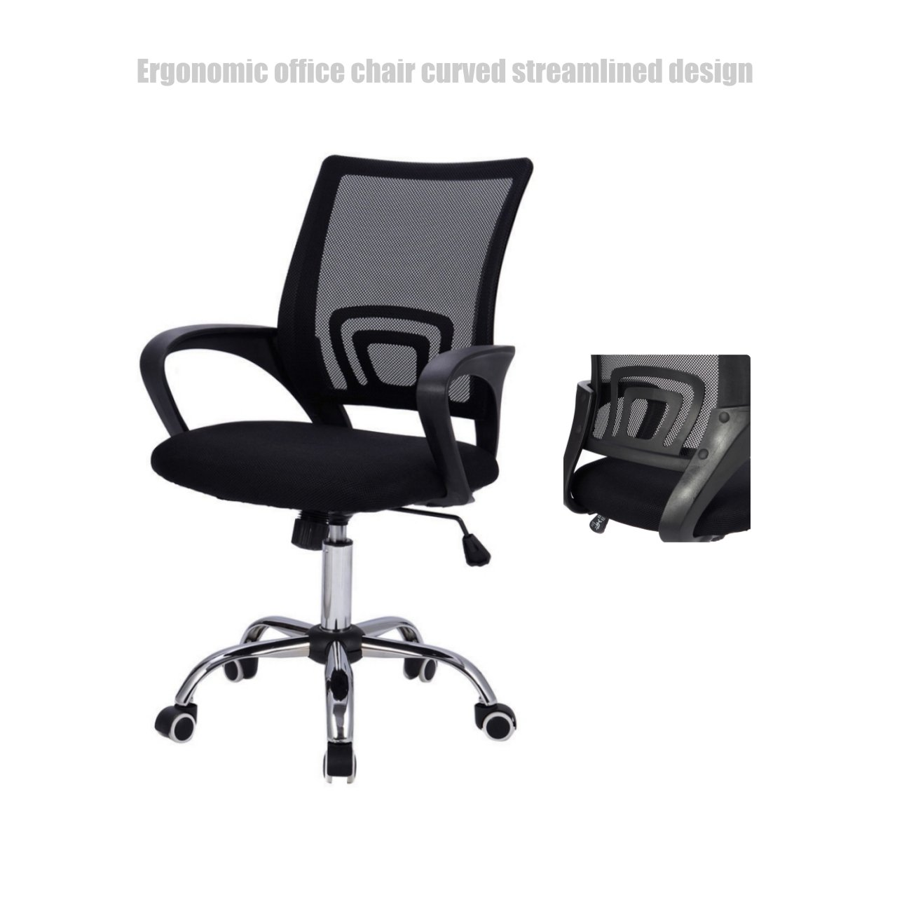 Modern Mid Back Office Chair Mesh Seats Ergonomic Back Supports Soft Sponge Upholstery 360 Degree Swivel Home Office Desk Task - Black # 1507