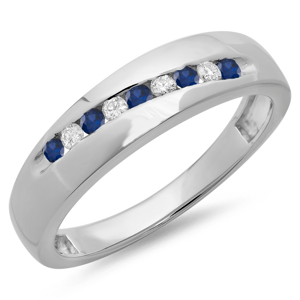 Sterling Silver Round Blue Sapphire & White Diamond Men's Stackable Anniversary Wedding Band (Size 12)