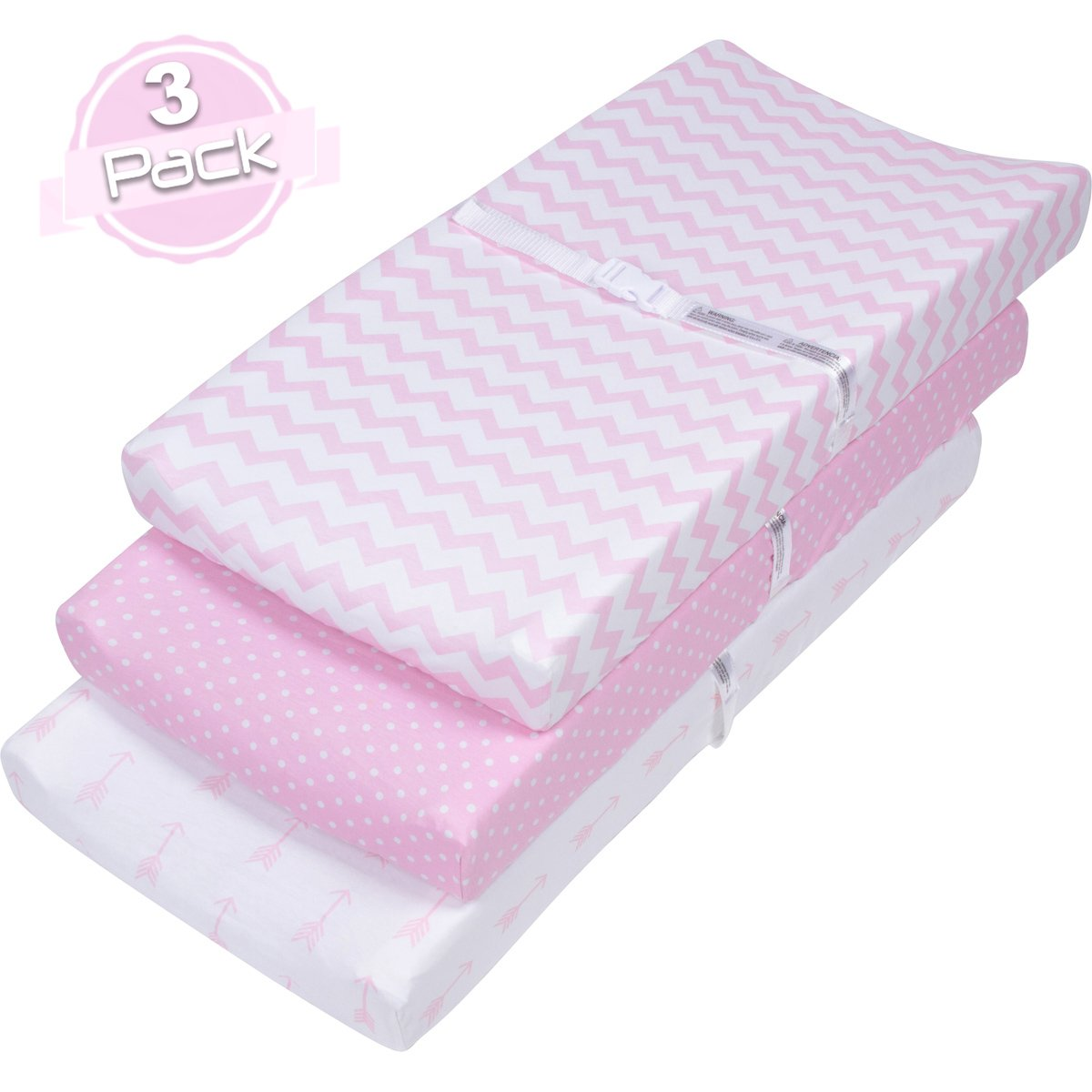 BaeBae Goods Changing Pad Cover Set for Girls | Cradle Bassinet Sheets/Change Table Covers for Boys & Girls | Super Soft 100% Jersey Knit Cotton | Pink and White | 150 GSM | 3 Pack by BaeBae Goods